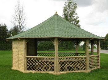 Wagner Pavilion Gazebo with 3 Solid Panels
