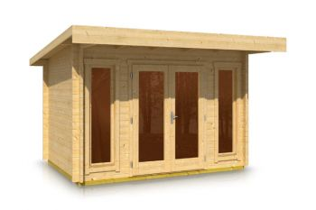 Pent Style Roof Log Cabin 2.5m x 3.5m x 44mm