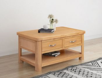 Bologna Oak Coffee Table with 2 Drawers