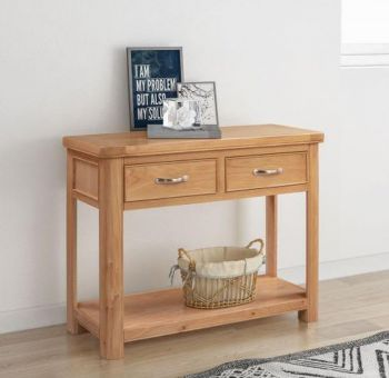 Bologna Oak Console Table with 2 Drawers