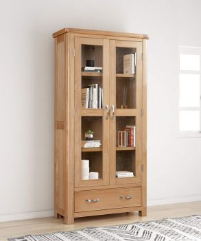 Bologna Oak Display Cabinet with Glass Doors