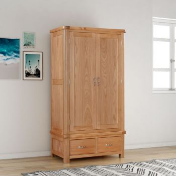 Bologna Oak Double Wardrobe with 2 Drawers