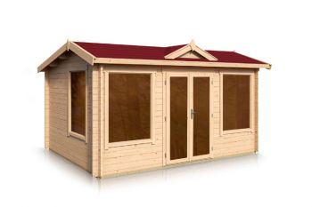 Clockhouse Apex Style Roof Log Cabin 2.66m x 3.16m x 44mm