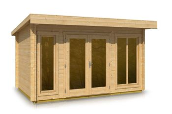 Pent Style Roof Log Cabin 2.66m x 4.06m x 44mm