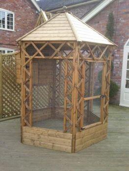 Buttercup Outdoor Bird Cage Hexagonal Victorian Aviary 6' diameter with nestbox