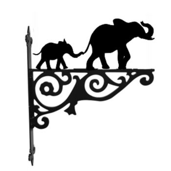 Mother And Baby Elephant Hanging Bracket