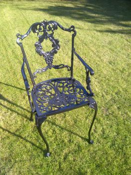 Grape Carver Chair British Made, High Quality Cast Aluminium Garden Furniture