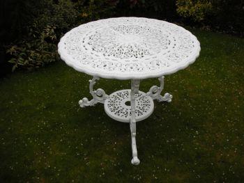Victorian Round Table British Made, High Quality Cast Aluminium Garden Furniture