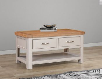 Bologna Painted Coffee Table with 2 Drawers