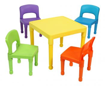 Multi-Coloured Table & 4 Chairs Set