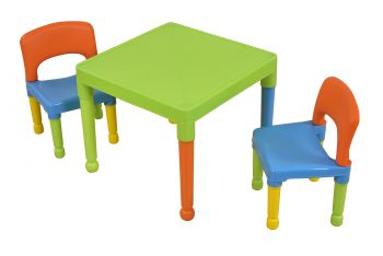 Multi-Coloured Table & 2 Chairs Set