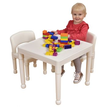 Children's White Table & 2 Chairs Set