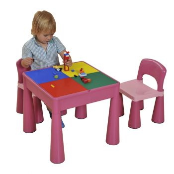 5 in 1 Multipurpose Activity Table & 2 Chairs - Pink