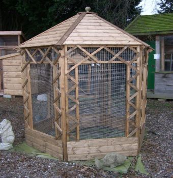 Buttercup Outdoor Bird Cage Hexagonal Victorian Aviary 8' diameter with nestbox