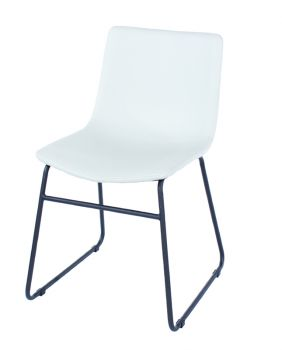 Aspen Pair Dining Chair, PU Grey with Black Metal Legs