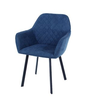 Aspen Pair Armchair, Blue Fabric with Black Metal Legs
