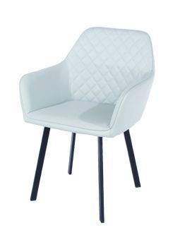 Aspen Pair Armchair, Pu Grey with Black Metal Legs