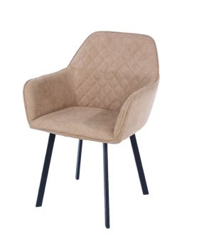 Aspen Pair Armchair, Sand Fabric with Black Metal Legs