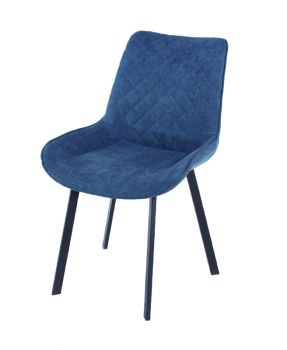 Aspen Pair Dining Chair, Blue Fabric with Black Metal Legs