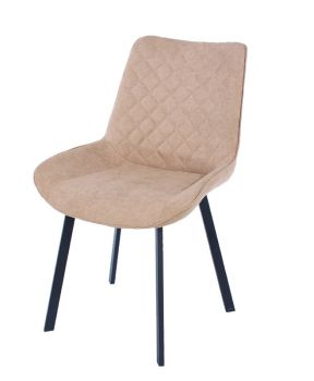 Aspen Pair Dining Chair, Sand Fabric with Black Metal Legs