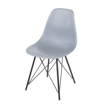 Pair of Chairs Aspen Grey Plastic Chair, Black Metal Legs