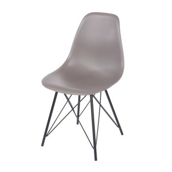 Pair of Chairs Aspen Truffle Plastic Chair, Black Metal Legs