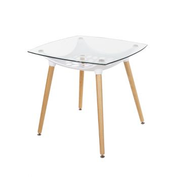 Aspen Square Clear Glass Top Table With White Plastic Underframe & Wooden Legs