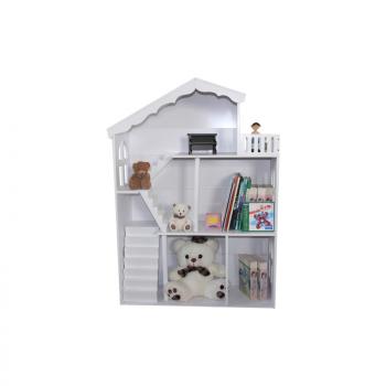 White Dollhouse Bookshelf With Balcony