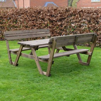 Lyddington Rounded Picnic Bench 4ft - Rustic Brown