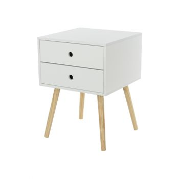 Options White Painted Scandia, 2 Drawer & Wood Legs Bedside Cabinet