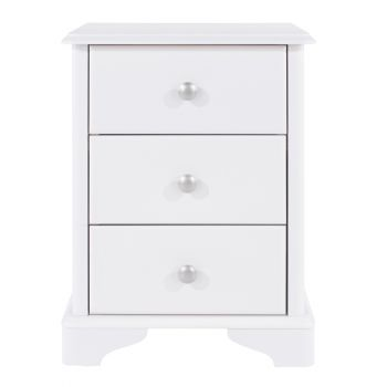 Highland Home CB Assembled White Painted 3 Drawer Compact Bedside Cabinet
