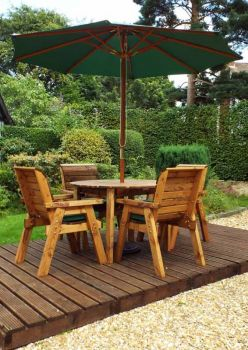 Four Seater Round Table Set with Green Cushions - Fully Assembled