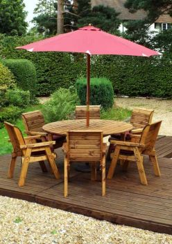 Six Seater Circular Table Set with Burgundy Cushions - Fully Assembled