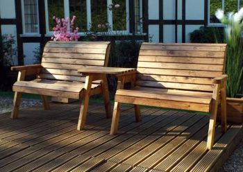 Twin Bench Set Straight - Fully Assembled
