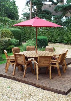 Eight Seater Circular Table Set with Burgundy Cushions - Fully Assembled