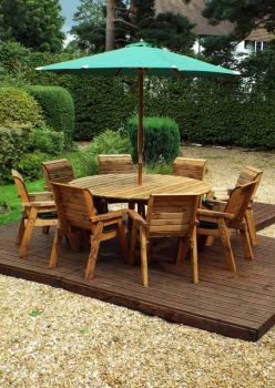 Eight Seater Circular Table Set with Green Cushions - Fully Assembled