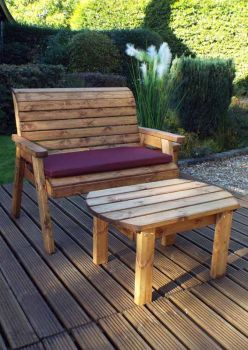 Deluxe Bench Set with Burgundy Cushions - Fully Assembled