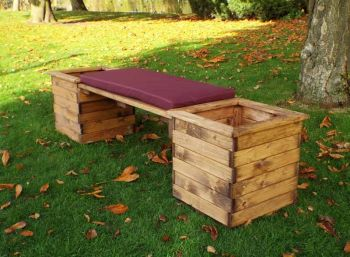 Deluxe Planter Bench with Burgundy Cushions - Fully Assembled