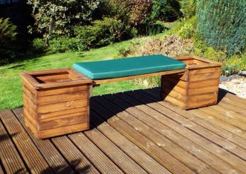 Deluxe Planter Bench with Green Cushions - Fully Assembled