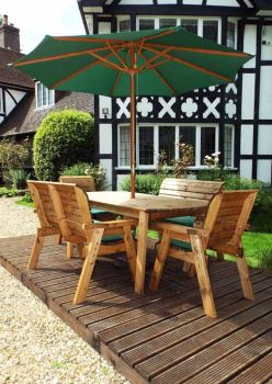 Six Seater Rectangular Table Set with Green Cushions - Fully Assembled