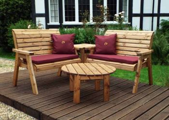 Four Seater Corner Unit with Burgundy Cushions - Fully Assembled