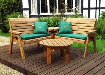 Four Seater Corner Unit with Green Cushions - Fully Assembled