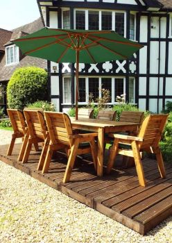 Eight Seater Rectangular Table Set with Green Cushions - Fully Assembled