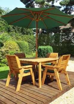 Four Seater Square Table Set with Green Cushions - Fully Assembled