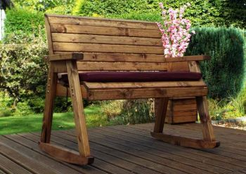 Bench Rocker with Burgundy Cushions - Fully Assembled