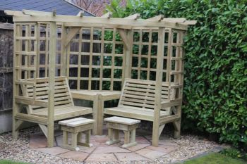 Clementine Corner Arbour- 4 Seat Garden Arbour, Wooden pergola seat