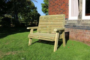 Ergonomical 2 Seater Bench, wooden garden chair