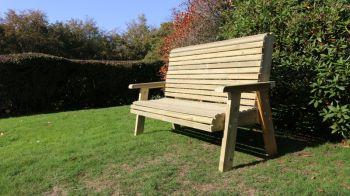 Ergonomic 3 Seat Bench, wooden garden chair