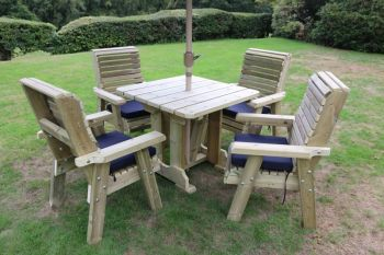 Ergo 4 Seater Set - Sits 4, wooden garden furniture dininig set with table and chairs