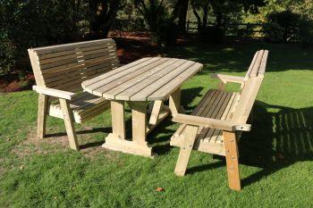 Ergo Table Bench Set - Sits 6, wooden garden dining furniture
